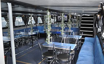 The London Belle has a seating area on the Lower deck