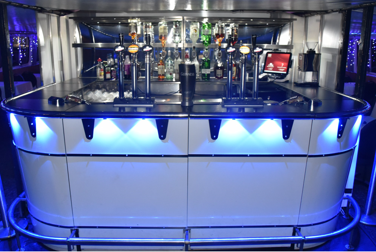 The Jewel of London Thames party boat has 2 bars