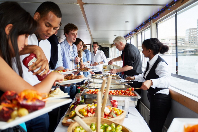 A festive buffet included with the Xmas London Boat Party ticket