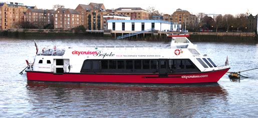 Example of a traditional Thames river boat for the NYE London Fireworks