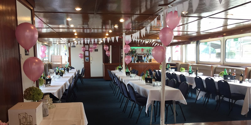 2 spacious decks can be found on the Golden Jubilee Thames party boat